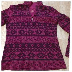 < Winter Sweatshirt - Pink Snowflake